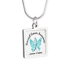 Cervical Cancer Butterfly Silver Square Necklace