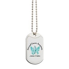 Cervical Cancer Butterfly 6.1 Dog Tags