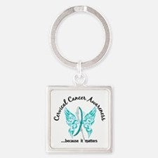 Cervical Cancer Butterfly 6.1 Square Keychain