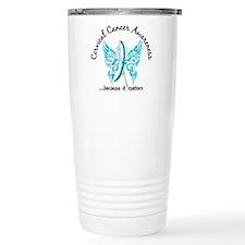 Cervical Cancer Butterf Travel Mug