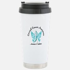 Cervical Cancer Butterf Travel Mug