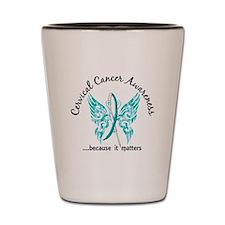 Cervical Cancer Butterfly 6.1 Shot Glass