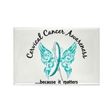 Cervical Cancer Butterfly 6.1 Rectangle Magnet