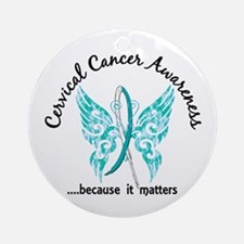 Cervical Cancer Butterfly 6.1 Ornament (Round)