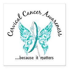 """Cervical Cancer Butterfl Square Car Magnet 3"""" x 3"""""""