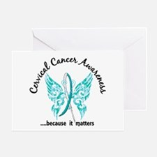 Cervical Cancer Butterfly 6.1 Greeting Card