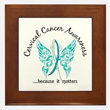 Cervical Cancer Butterfly 6.1 Framed Tile