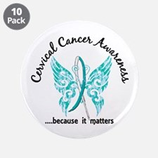 """Cervical Cancer Butterfly 6. 3.5"""" Button (10 pack)"""