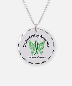 Cerebral Palsy Butterfly 6.1 Necklace Circle Charm
