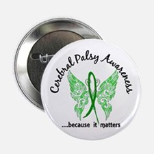 "Cerebral Palsy Butterfly 6.1 2.25"" Button"