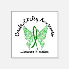 "Cerebral Palsy Butterfly 6. Square Sticker 3"" x 3"""
