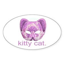 Kitty Cat Mask Oval Decal