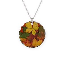 FALL LEAVES Necklace Circle Charm