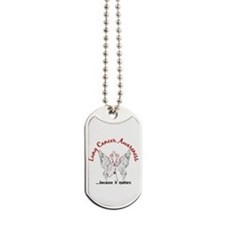 Lung Cancer Butterfly 6.1 Dog Tags