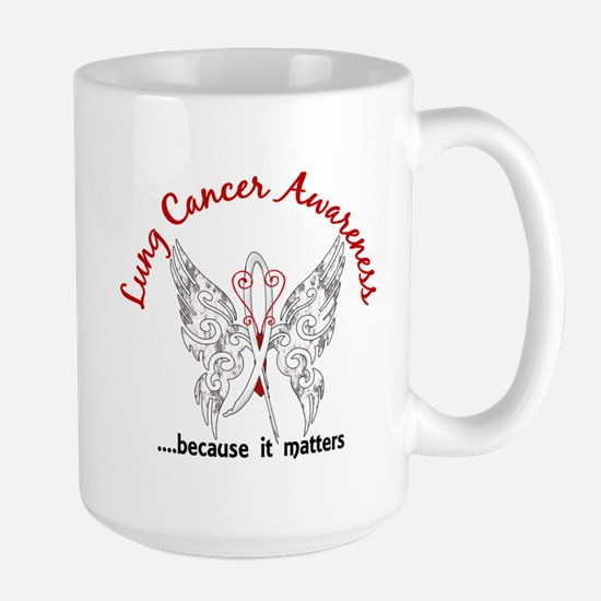 Lung Cancer Butterfly 6.1 Large Mug