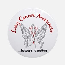 Lung Cancer Butterfly 6.1 Ornament (Round)