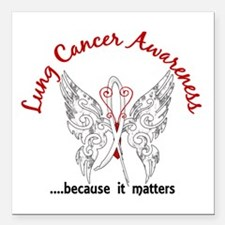 """Lung Cancer Butterfly 6. Square Car Magnet 3"""" x 3"""""""