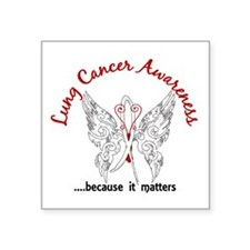 "Lung Cancer Butterfly 6.1 Square Sticker 3"" x 3"""