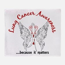Lung Cancer Butterfly 6.1 Throw Blanket