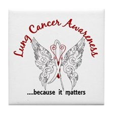 Lung Cancer Butterfly 6.1 Tile Coaster