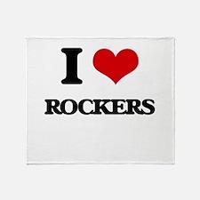 I Love Rockers Throw Blanket