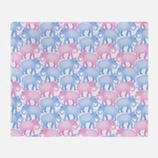 Pink and Blue Elephant Herd Throw Blanket