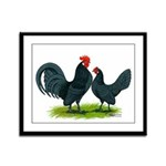 Blue Dutch Chickens Framed Panel Print