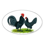 Blue Dutch Chickens Oval Sticker