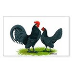 Blue Dutch Chickens Rectangle Sticker