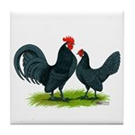 Blue Dutch Chickens Tile Coaster