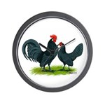 Blue Dutch Chickens Wall Clock