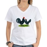 Blue Dutch Chickens Women's V-Neck T-Shirt