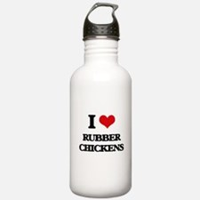 I Love Rubber Chickens Water Bottle