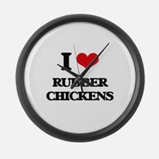I Love Rubber Chickens Large Wall Clock