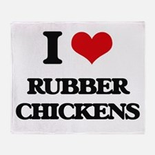 I Love Rubber Chickens Throw Blanket