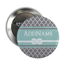 "Gray and Mint Quatrefoil Ro 2.25"" Button (10 pack)"