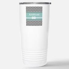 Gray and Mint Quatrefoi Travel Mug