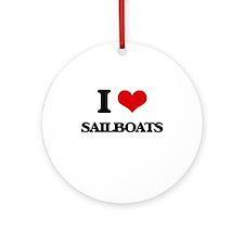 I Love Sailboats Ornament (Round)