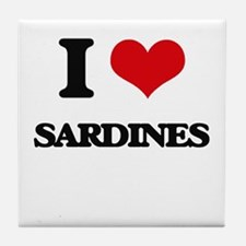 I Love Sardines Tile Coaster