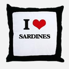 I Love Sardines Throw Pillow