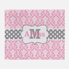 Pink Gray Damask Personalized Throw Blanket
