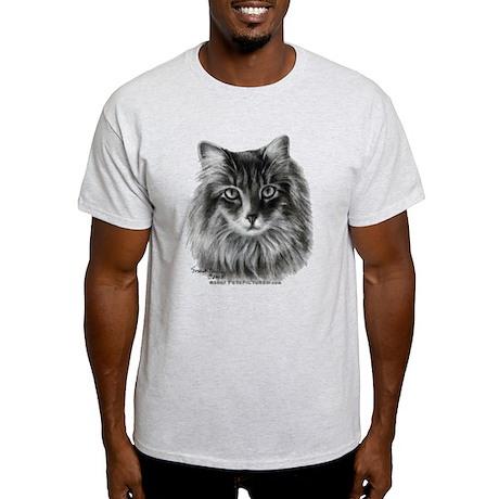 Long-Haired Gray Cat Light T-Shirt