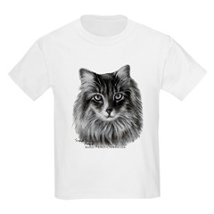 Long-Haired Gray Cat T-Shirt