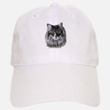 Long-Haired Gray Cat Baseball Baseball Cap