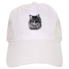 Long-Haired Gray Cat Baseball Cap