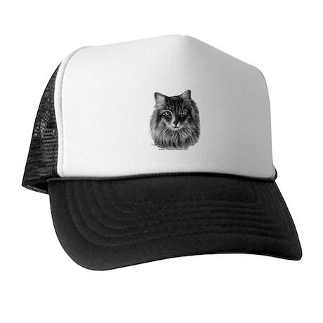 Long-Haired Gray Cat Trucker Hat