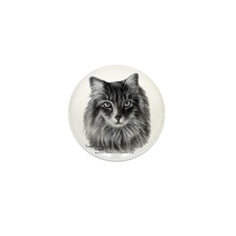 Long-Haired Gray Cat Mini Button (100 pack)