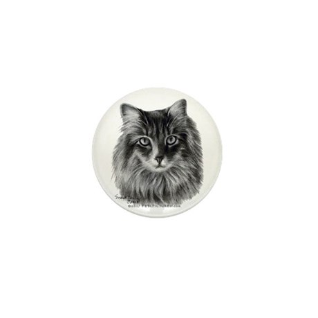 Long-Haired Gray Cat Mini Button