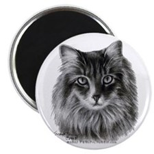 """Long-Haired Gray Cat 2.25"""" Magnet (100 pack)"""
