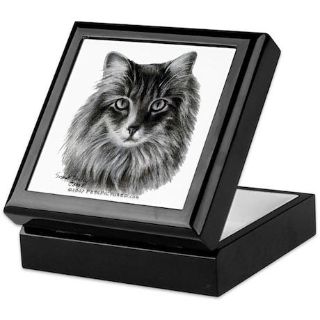Long-Haired Gray Cat Keepsake Box